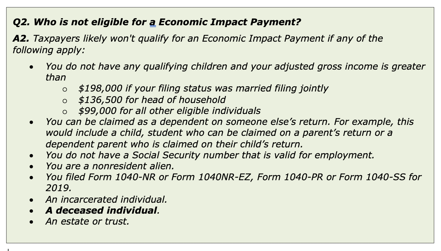 Who is eligible for an economic impact payment