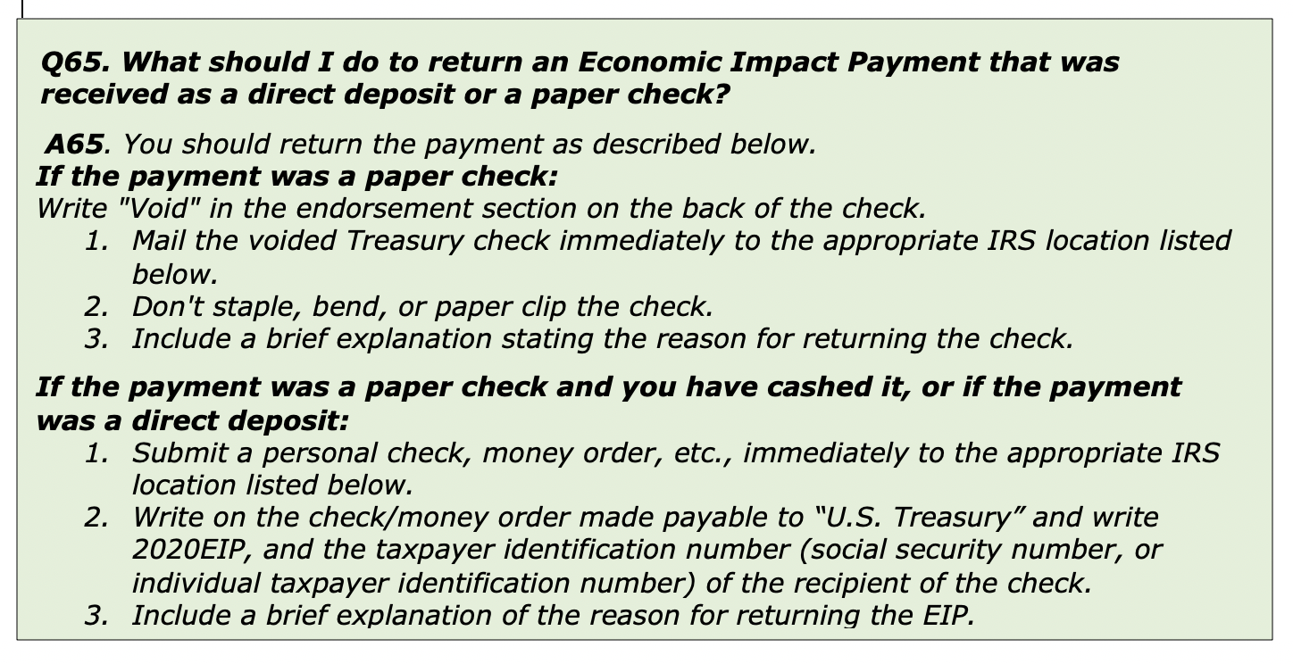What should I do to return an economic impact payment that was received as a direct deposit or a paper check?
